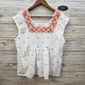 Lucky Brand White Embroidered Sleeveless Blouse